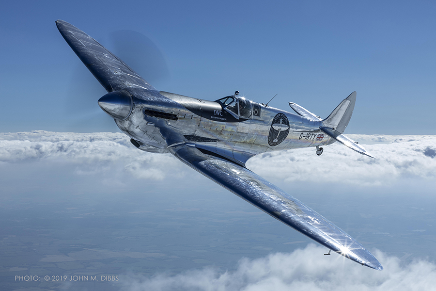 Silver Spitfire in Flight