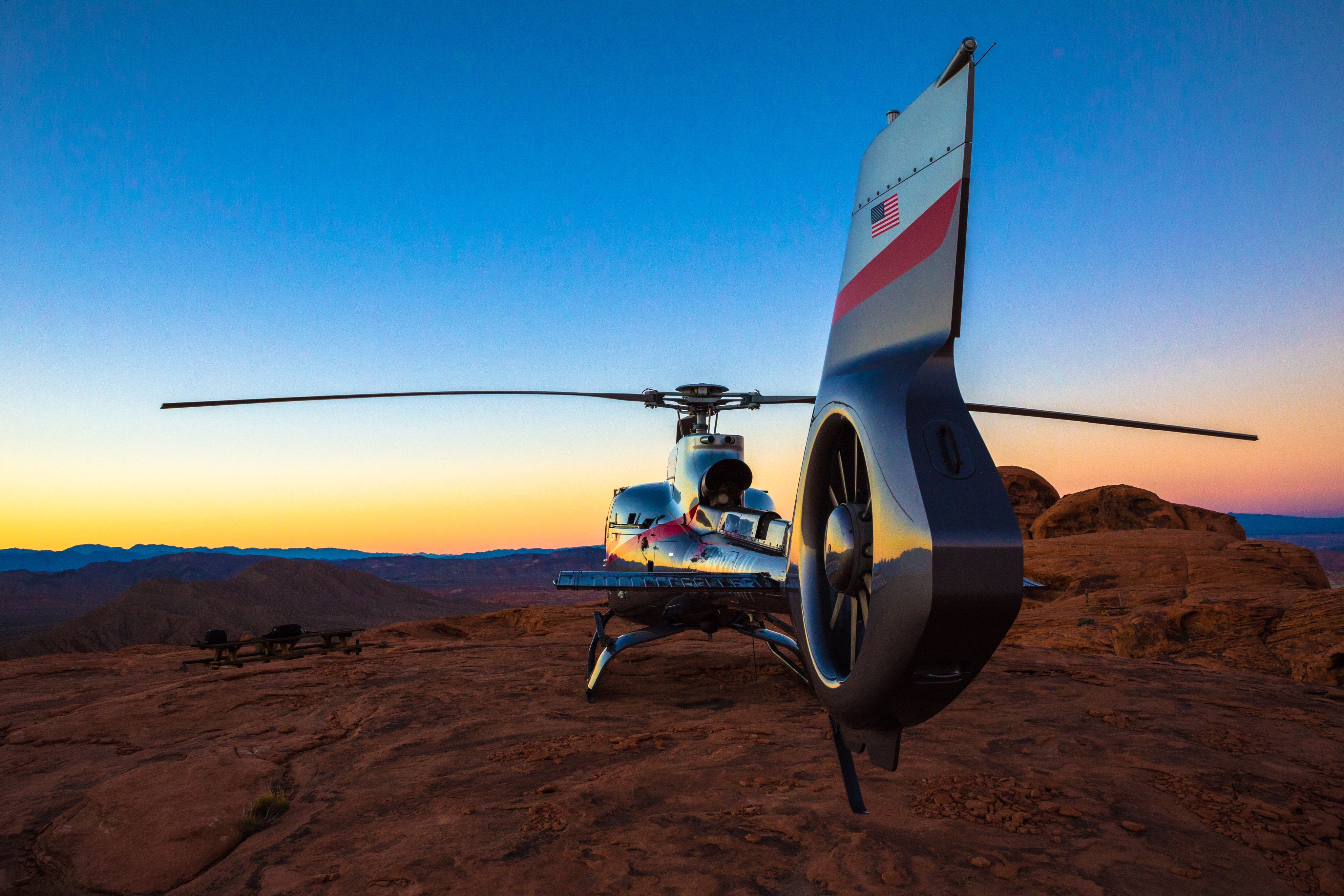 Maverick Helicopter at Sunset